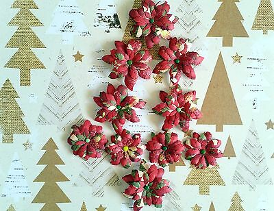 10 x Handmade Christmas Paper Flowers  Mix #3 - Perfect for Scrapbooking, Cards