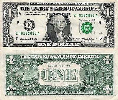 2013 US $1 One dollar banknote