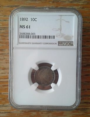 Nice Toned NGC Certified Uncirculated Barber Dime---NGC MS-61