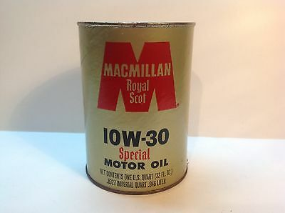 Vintage MacMillan Royal Scot Special Oil Quart Empty Can bold Sign Gas Auto Old