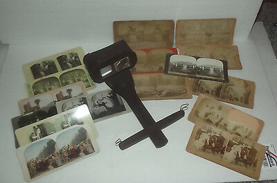 Job Lot Of Vintage Stereoview Cards Including B.w. Kilburn And Viewer For Parts