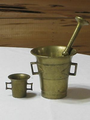 Vintage Solid Brass No. 5  Mortar & Pestle with Tiny Mortar