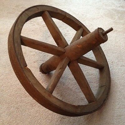 Antique Wheelbarrow Wheel Farm Cart Wheel Wood & Iron