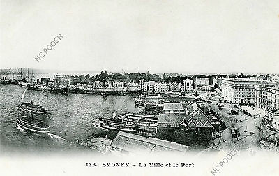 vintage postcard Sydney port & town Circular Quay ferries boats early 1900s