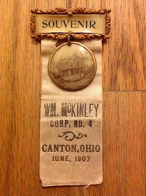 1907 President William McKinley Canton, Ohio Souvenir Badge Medal Corp No 4