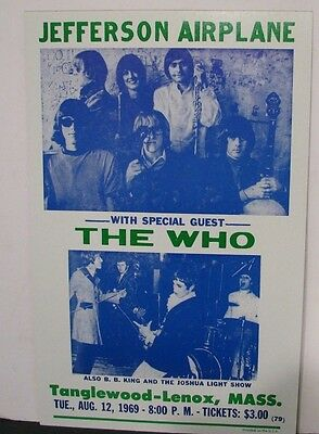 Vintage JEFFERSON AIRPLANE & The Who Concert Poster 1969 Tanglewood Lenox Mass