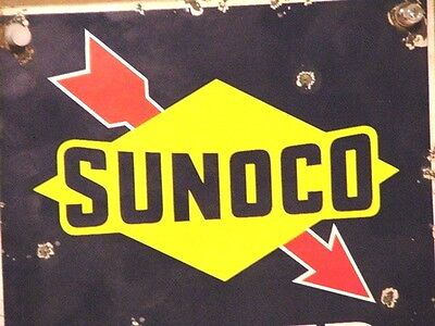 Porcelain Sunoco Water Sign Oil Gas Can Bottle Globe Pump Air Meter