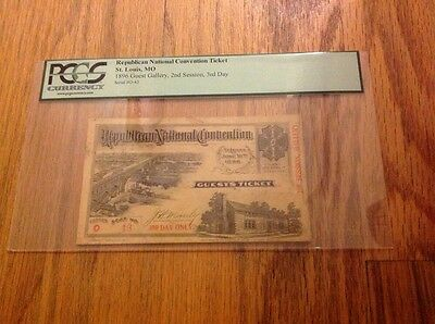 1896 Republican National Convention Ticket Pass President William McKinley PCGS