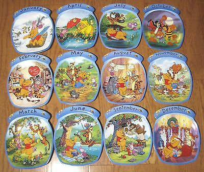 12 Calendar Plates Winnie the Pooh the Whole Year Through Bradford Exchange