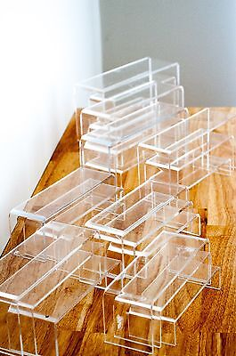 SUPER DEAL Set of 3 Display Riser 4MM 4.5M 5MM CLEAR Acrylic 7.5cm 9cm Wide