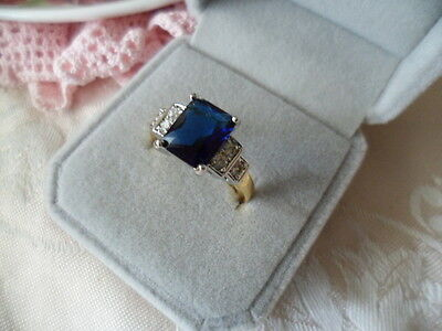 Antique Art Deco Vintage Gold Ring with Sapphire Blue and White stones size 9
