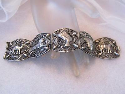 Estate Vintage Antique Egyptian Revival Filigree Silver Handmade Bracelet