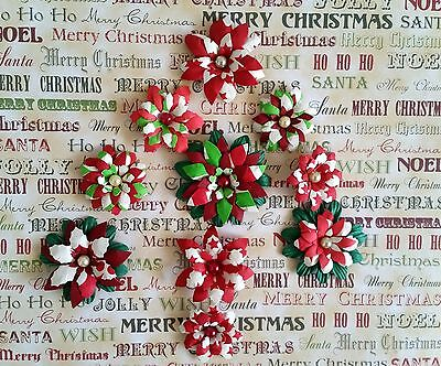 10 x Handmade Christmas Paper Flowers  Mix #2 - Perfect for Scrapbooking, Cards