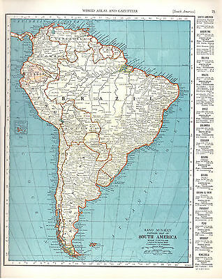 1940 ORIGINAL MAPS Venezuela South America Brazil Argentina RAND MCNALLY ATLAS