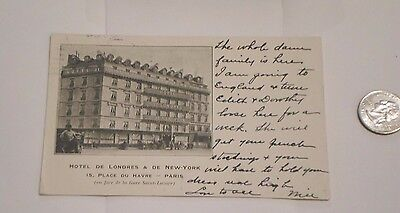Hotel De Londres Et New York France Hotel Postcard  antique 1906 OCT 10-10-1906