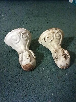 2 Antique Claw Ball Foot Bath Tub Legs Cast Iron Good Salvaged Condition