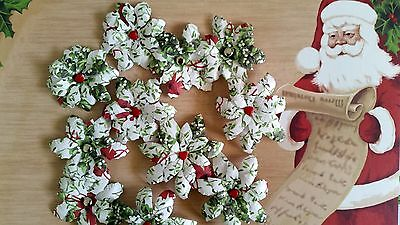 10 x Handmade Christmas Paper Flowers  Mix #1 - Perfect for Scrapbooking, Cards