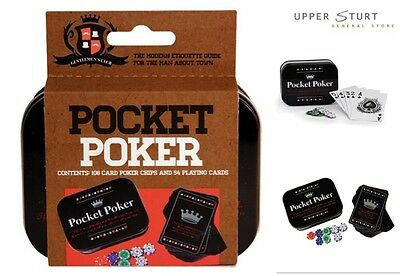 Pocket Poker Playing Cards and 108 Magnetic Chips in a Storage Tin FREE DELIVERY