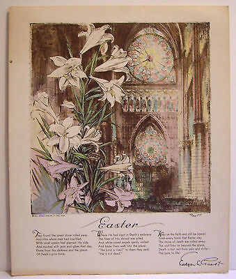 Easter poem lithograph white lilies church rose window Edgar Guest 1931