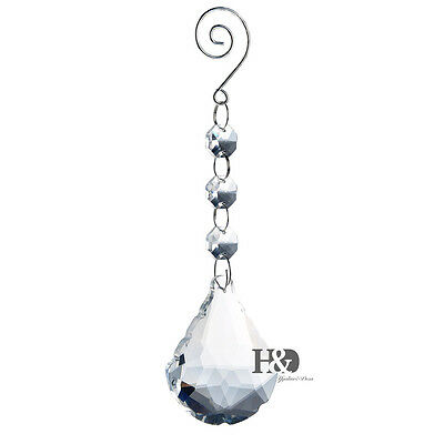 Clear Suncatcher Cut Hanging Sector Crystal Prism Feng Shui Drops Pendants 50mm