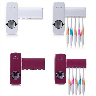 Automatic Toothpaste Dispenser 5 Toothbrush Holder Set Wall Mount Stand Family