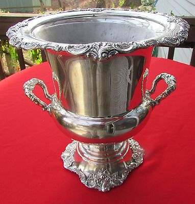 Baroque Pattern Champagne or Wine Bucket with Liner By Wallace Silver Plate