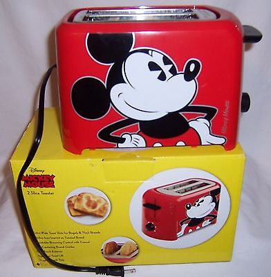 Disney Mickey Mouse Classic 2 Slice Toaster Red/black Kitchen Bread NIB