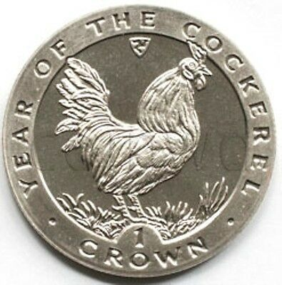 Isle Of Man 1 crown 1993 Year of the Rooster UNC (#1834)