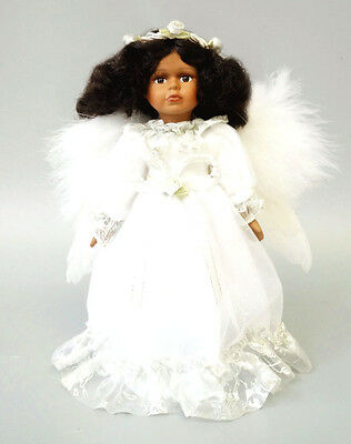 Handmade Cute Porcelain Angel Girl African Skin White Lace Wings Collect Gift