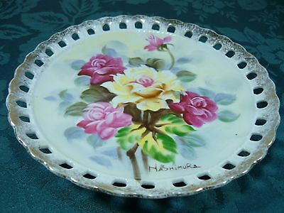 Beautiful Hand Painted Flowers Display Plate