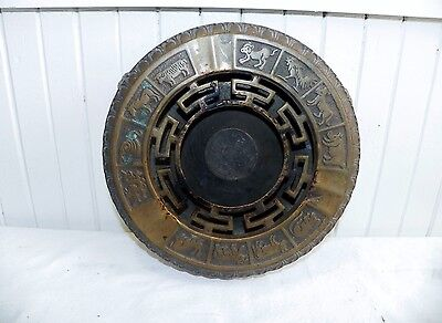 Antique Chinese Brass Zodiac Cooking Pot Ashtray Incense Burner Plant Stand
