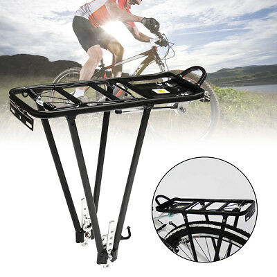 Black Aluminum Alloy Heavy Duty Bicycle Bike Rear Pannier Rack Luggage Carrier