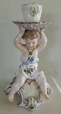 Antique vintage porcelain cherub putti candle stick holder made in Germany