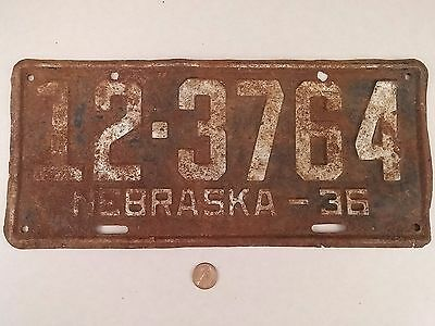 1936 '36 Knox County Nebraska License Plate 12-3764