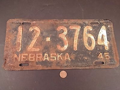 1945 '45 Knox County Nebraska License Plate 12-3764