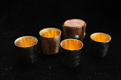 Rare Vintage German Shot Glasses w Destroyed Leather Case - 4 Glasses - Drink