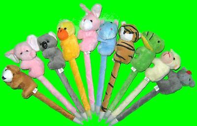 Bulk Lot of 5 Mixed Plush Animals Novelty Pens New Kids Party Favor Novelty Toy