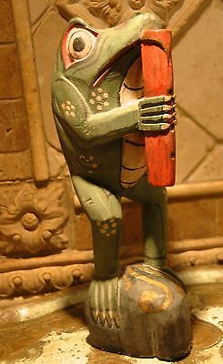 "Primitive Wood Carved Frog Figurine Hand Painted Musician Playing Flute 10.5"" H"