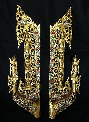 Pair 19/20CT Burmese Carved Gilt Wood Panels & Stones with 4x Buddha Motif (Lol)