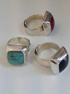 Turquoise, Coral Or Onyx Mexican .925 Sterling Silver Rings 1/2 PRICE