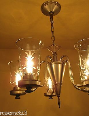 Vintage Lighting pewter type finish 1940s chandelier by Lightolier