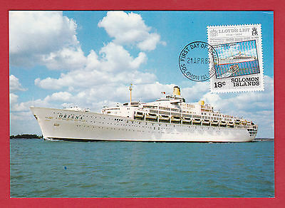 Solomon Islands 1984 - FDI Postcard - Stamped & Cancelled - P & O Liner Oriana.