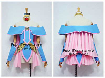 Yu-Gi-Oh! Dark Magician Girl Cosplay Costume Outfit Hat Dress Collar Sleeves