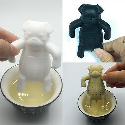 Hot Silicone Tea Coffee Infuser Pug In A Mug Teapot Herbal Spice Strainer Filter