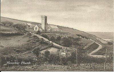 Vintage postcard of Manorbier Church, Pembrokeshire
