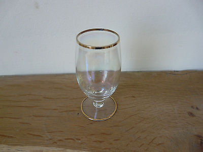 Vintage opalescent sherry glass with gold trim on rim and base