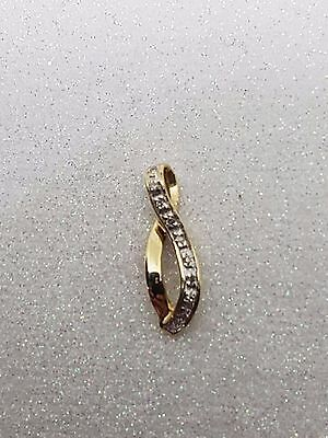 100% Genuine 9Ct Yellow Gold 10  Diamond Set Infinity Pendant !  Beautiful