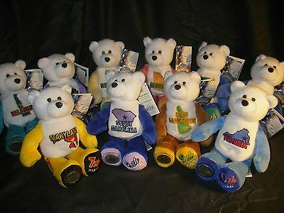 Lot # 1- 10 Limited Treasures plush/stuffed STATE QUARTER COIN BEARS Tags + Coin