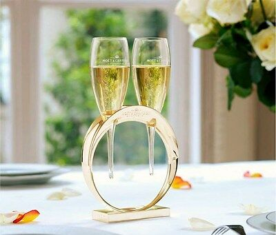 Moet Chandon Champagne Lovers Glass Set Wedding Band With 2 Crystal Glasses New