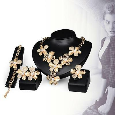 Gold Plated Imitated Crystal Necklace Women Bridal Ring Bracelet Earrings set GG